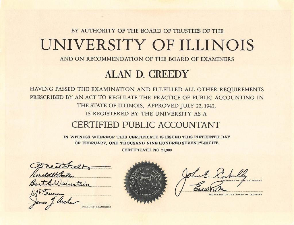 U of I certificate