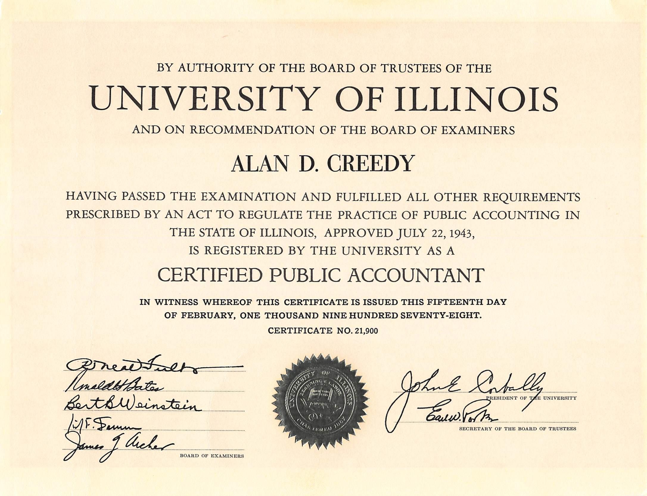 U Of I Certificate Alan Creedy
